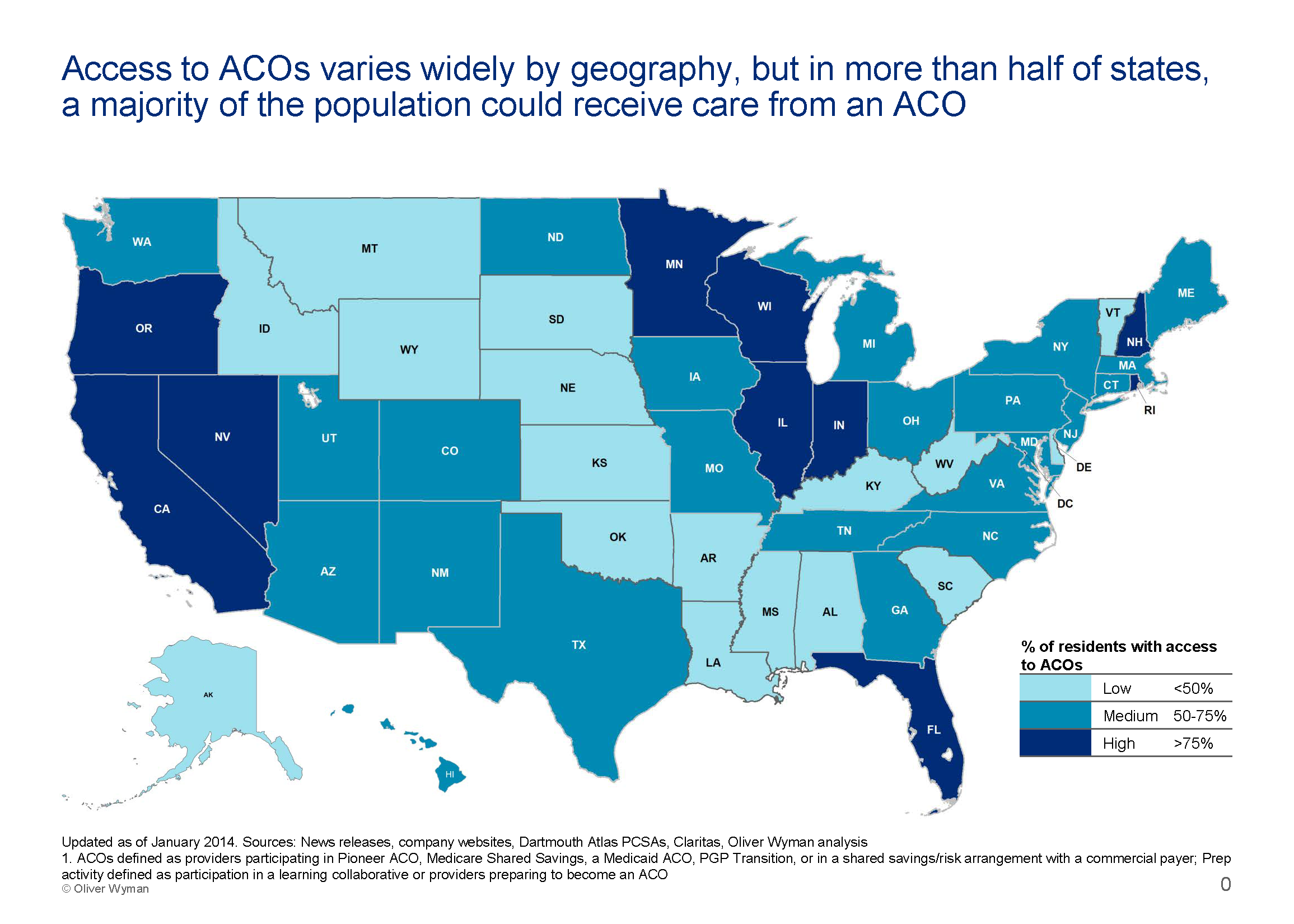 ACO Update Accountable Care Organizations Now Serve Of Americans - 50 of the us population map